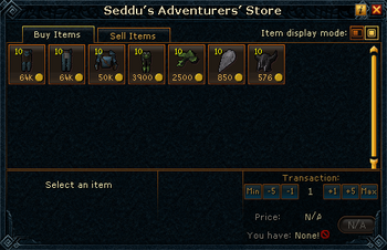 Seddu's Adventurers' Store stock