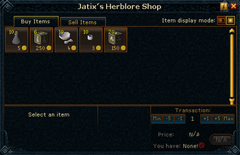 Jatix's Herblore Shop stock