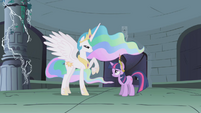 Celestia talking to Twilight in the ruins S1E2