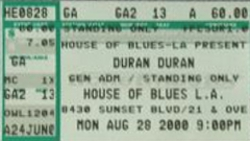 House of Blues, Los Angeles, CA, USA WIKIPEDIA PULP WIKIA DURAN DURAN CONCERT TICKET STUB