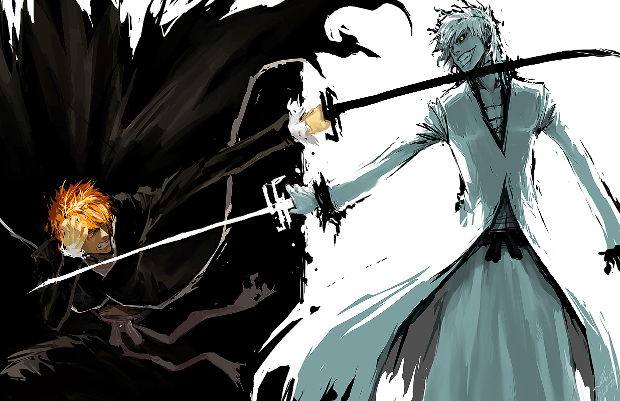 Bleach ichigo v s ichigo hollow by wrath and wesley-d51po6x