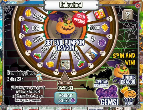 Gems, Gold, Food, Xp, Dragon. Hallowheel berlangsung dari 29 Oktober
