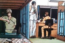 Fuji, Yukimura and Shiraishi's room, with Shiraishi and his pet bug Kaburiel
