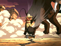 Aang airbending to save Sokka