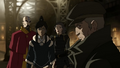 Korra, Tenzin and Lin learn of Hiroshi's being an Equalist.png
