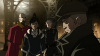 Korra, Tenzin and Lin learn of Hiroshi's being an Equalist