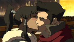 Mako and Korra kiss