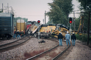 2002-10-21 - Collision and Derailment of Union Pacific Freight Trains MPRSS-21 and AJAPRB-21 at Des Plaines, Illinois, October 21, 2002.