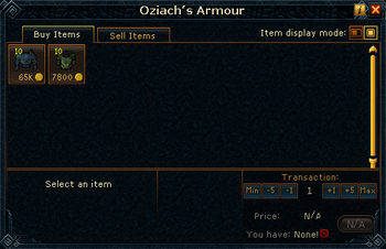 Oziach's Armour stock