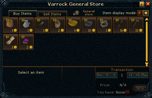 Varrock General Store stock