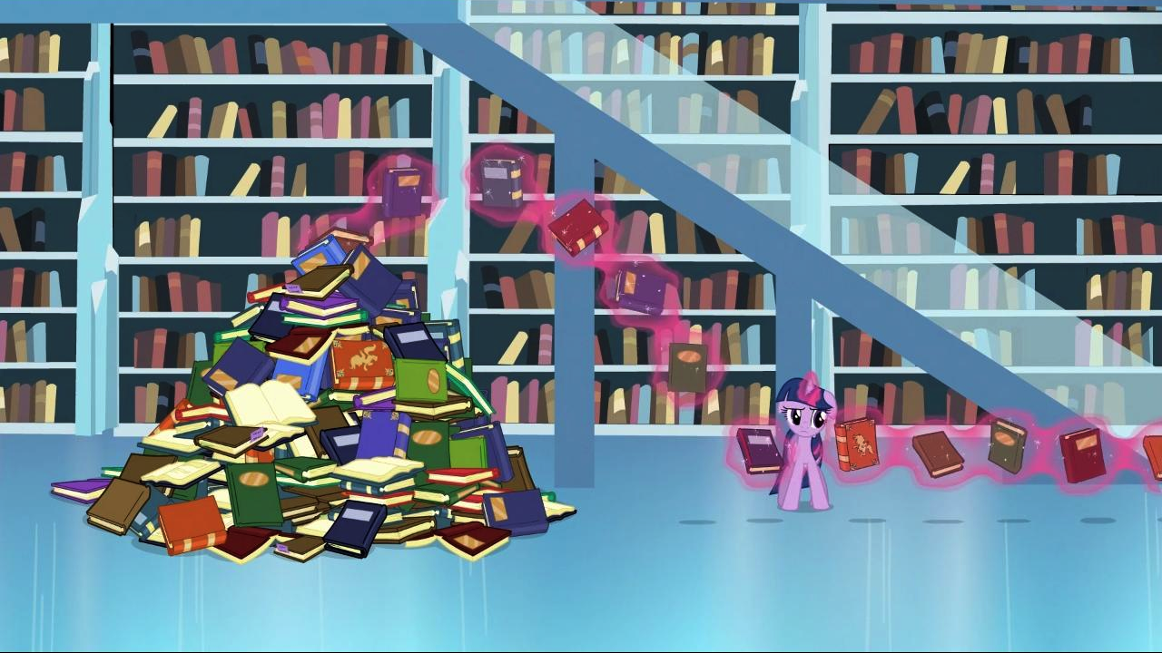 Twilight_looks_at_all_those_books_S3E1.p