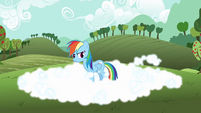 Rainbow Dash in cloud S3E3