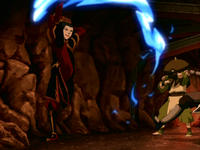 Azula firebends at Toph