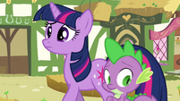 Twilight and Spike hearing Pinkie S3E03