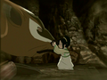 Toph befriends a badgermole.png