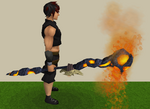 Skeletal lava battlestaff equipped