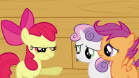 Apple Bloom pointing at Sweetie Belle and Scootaloo S3E04