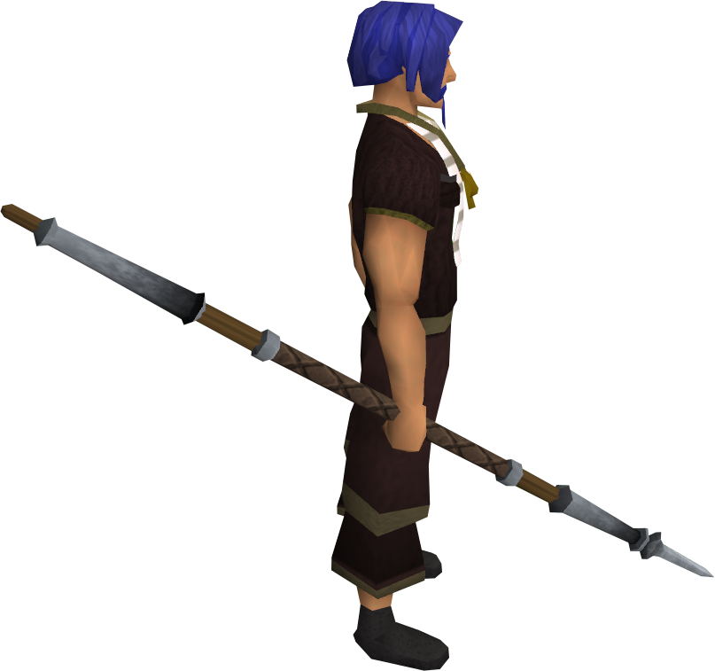 Steel spear equipped