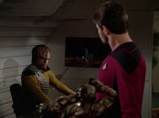 Riker convinces worf to join him