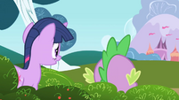 Twilight and Spike peeking out from bushes S1E01