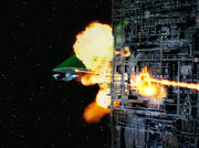 Enterprise fires at Borg cube