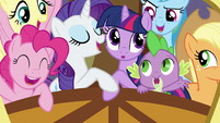 Ponies on train for Ponyville S3E2