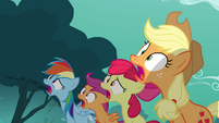 Rainbow, Scootaloo, Apple Bloom, Applejack gasp at Rarity S3E6