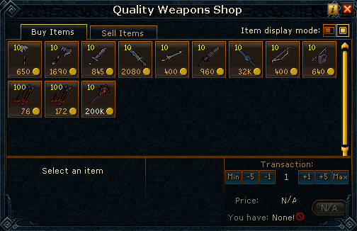 Quality Weapons Shop stock
