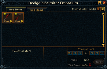 Dealga's Scimitar Emporium stock