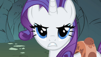Rarity asking the Diamond Dogs in they want to hear whining S1E19