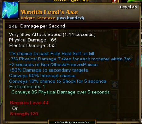 Wraith Lord&#39;s Axe stats