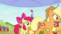 Applejack walking past Apple Bloom and Babs S3E08