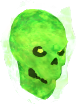 Flaming skull chathead (green)