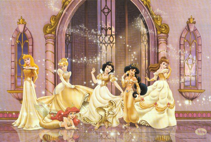 This is the Princess lineup of my youth. Aurora, Ariel, Cinderella, Snow White, Jasmine, and Belle.  Today, the lineup usually includes Rapunzel and Tiana, and sometimes Merida, Mulan, and Pocahontas