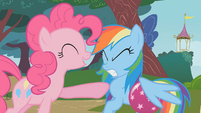 Pinkie Pie pokes Rainbow Dash S1E7