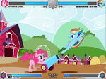 Rainbow Dash and Pinkie Pie fighting in Sweet Apple Acres Fighting is Magic