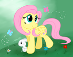 Fluttershy and Angel wallpaper by artist-ppgxrrb-fan