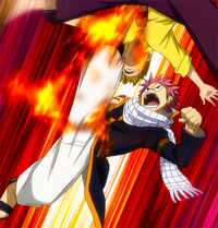 Natsu attacks Sabertooth