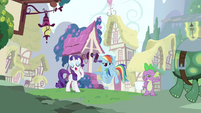 Rarity &amp; Rainbow Dash hearing Spike out S3E11