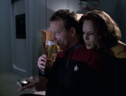 Tom and B'Elanna watch TV