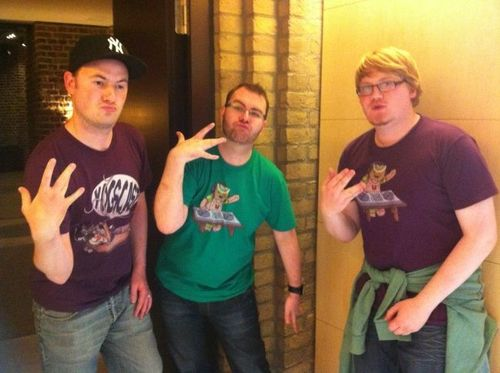 Duncan  Sjin  and Sips doing gang signs jpgLividcoffee In Real Life