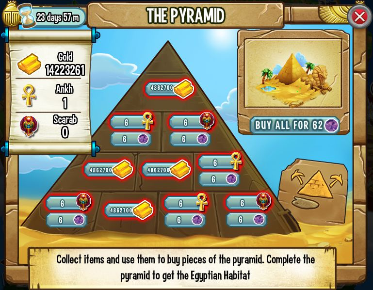La piramide de la Isla Egipcia de Dragon City - Wiki Winner