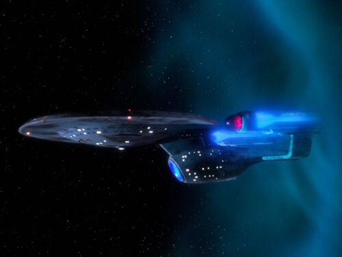 USS Enterprise-C emerges from temporal rift