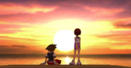 Sora and Kairi at sunset