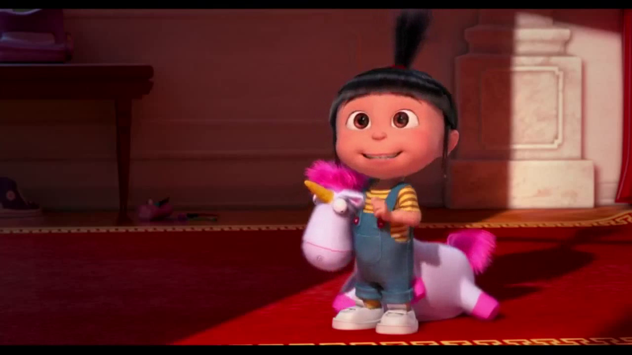 Agnes' Unicorn is a fluffy plush-unicorn that Agnes received at Super Silly Fun Land, but it was sold to the little girl at Despicable Me 3. After Edith disintegrated her first one, Tim, Mark, and Phil were sent to get Agnes a new unicorn; though they came back with a toy Phil made, Agnes is.