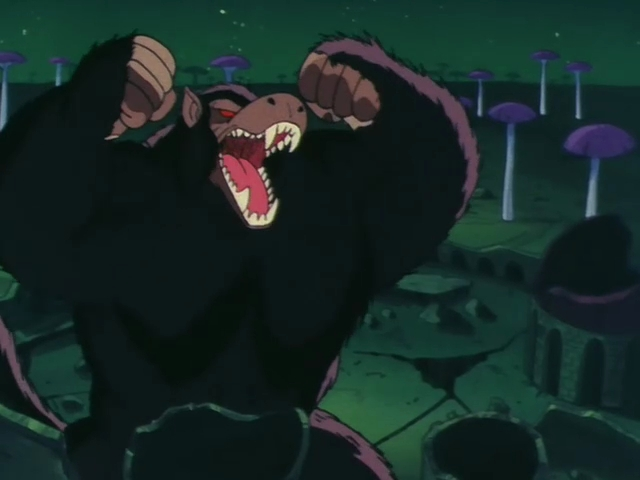 Like all Saiyans, Goku can transform into a Great Ape (Oozaru) when he sees
