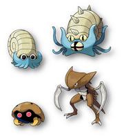Omanyte y Kabuto, ambos resucitados de un fósil, Hélix y Domo respectivamente, junto a sus evoluciones, Omastar y Kabutops.