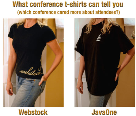 Which conference cares more about its attendees?  Webstock t-shirt fits well, JavaOne t-shirt is baggy and unattractive.
