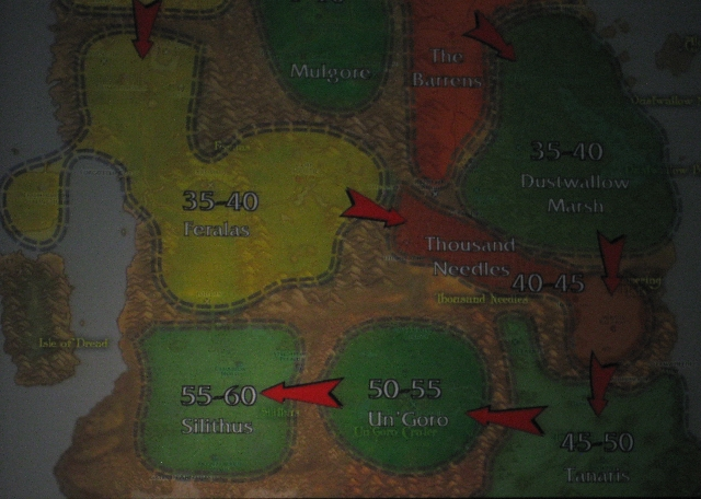 Here's the map from Blizzcon of the new leveling flow of part of Kalimdor: