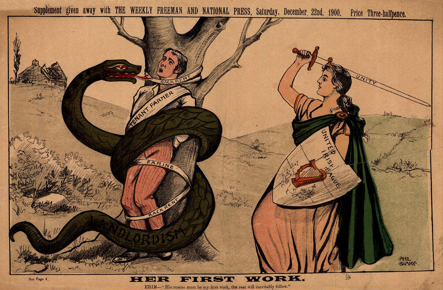Reversed gender roles in a Phil Blake cartoon from the Weekly Freeman, 1900